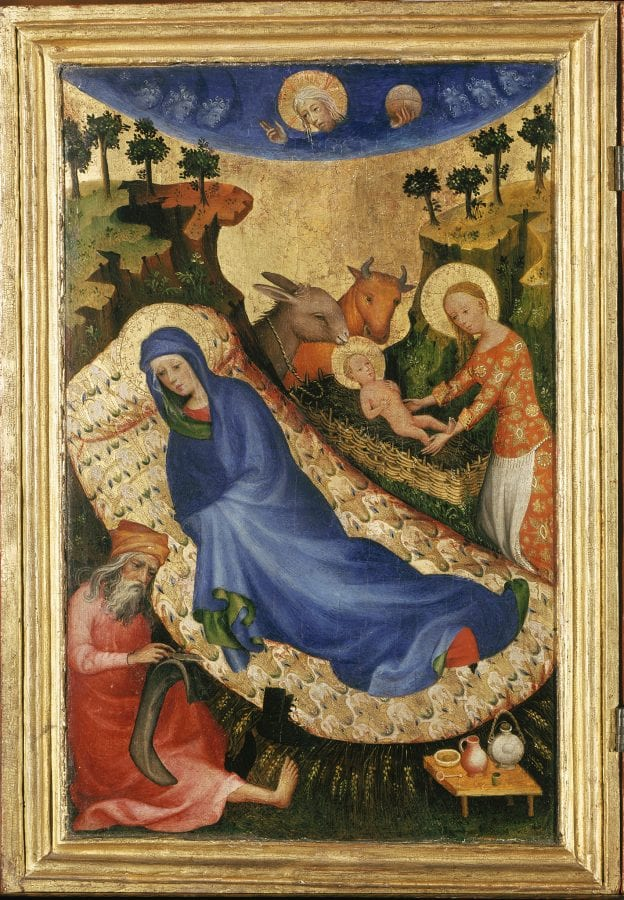 Mosan/Netherlandish artist;  Nativity, panel of the Antwerp-Baltimore Polyptych of Philip the Bold;  panel of the Antwerp-Baltimore Polyptych of Philip the Bold;  ca. 1400;  tempera and gold leaf on wood;  33 x 21 cm.;  Antwerp, Mayer van den Bergh Museum;  inv. MMB.0001.1-2