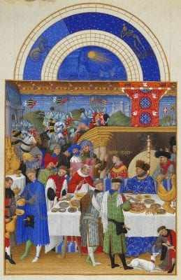 Limbourg Brothers; January, miniature from the Très Riches Heures du Duc de Berry; before 1416; tempera on vellum; 22.5 cm x 13.6 cm.; Chantilly, Musée Condé; Ms 65, fol. 1v