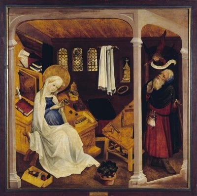 Master of the Little Garden of Paradise and his workshop;  The Doubt of Joseph, (from the hospice of Saint-Marc, Strasbourg);  ca. 1430;  oil on pine panel;  114 x 114 cm;  Strasbourg, Musée de l'Oeuvre Notre Dame;  on loan from the Hospices Civils de Strasbourg, inv. MBA 1482