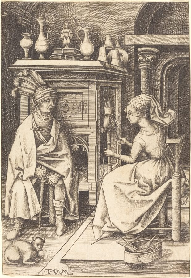 Israhel van Meckenem;  The Visit to the Spinner, from Scenes of Daily Life;  ca. 1495/1503. Washington;  engraving;  16.2 x 11.1 cm;  D.C., The National Gallery of Art;  Rosenwald Collection, inv. 1953.4.1
