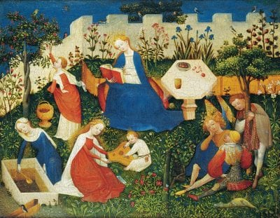 Master of the Little Garden of Paradise (also known as the Upper Rhenish Master);  The Little Garden of Paradise;  ca. 1410–20;  tempera on oak;  26.3 x 33.4 cm;  Frankfurt, Städel Museum;  on loan from the Historisches Museum Frankfurt, inv. HM 54