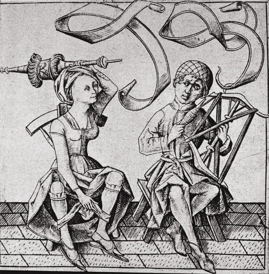 Israhel van Meckenem;  Henpecked Husband; 1480;  engraving;  9.7 x 10.1 cm;  Lehrs 649.