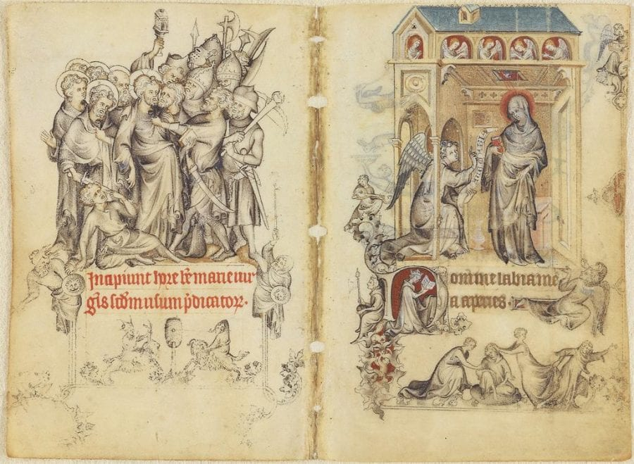 Jean Pucelle (French, active Paris); Betrayal of Christ and the Annunciation, miniature from the Book of Hours of Jeanne d'Evreux; 1324–28; Decorative Arts and Utilitarian Objects; grisaille, tempera, and ink on vellum; 9.2 x 6.2 cm (single folio); New York, Metropolitan Museum of Art, The Cloisters; inv. 54.1.2