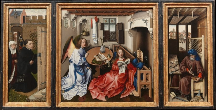 South Netherlandish, Workshop of Robert Campin; Annunciation Triptych (Mérode Altarpiece); ca. 1425–32; oil on oak; 64.5 x 117.8 cm (overall); New York, Metropolitan Museum of Art, The Cloisters Collection, 1956; inv. 56.70a-c