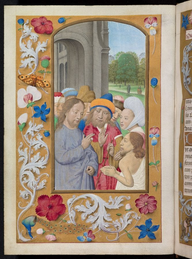 Maximilian Master, The Raising of Lazarus (flower-and-acanthus borde, ca. 1490–95, Oxford, Bodleian Library