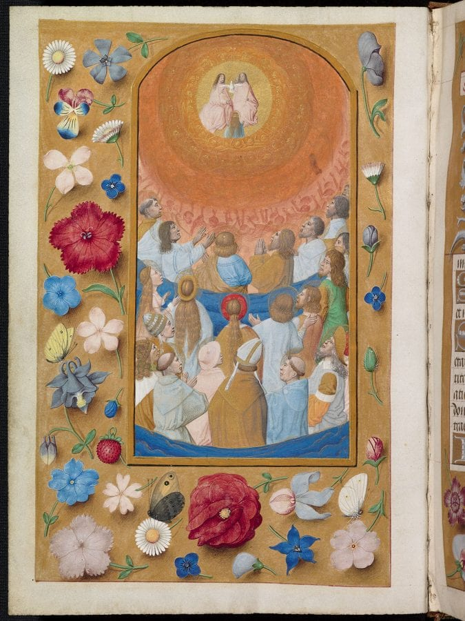 Maximilian Master, All Saints (strewn-flower border), 170 x 90 mm, i, ca. 1490–95, Oxford, Bodleian Library