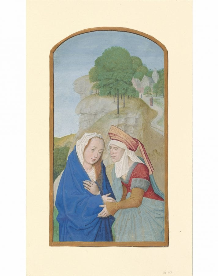 Maximilian Master, The Visitation, tempera on parchment, 165 x 90 mm, ca. 1490–95., New York, Morgan Library and Museum