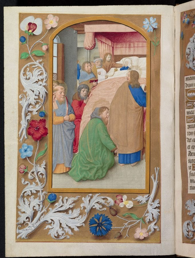 Maximilian Master, The Dormition of the Virgin (flower-and-acanthus , ca. 1490–95., Oxford, Bodleian Library