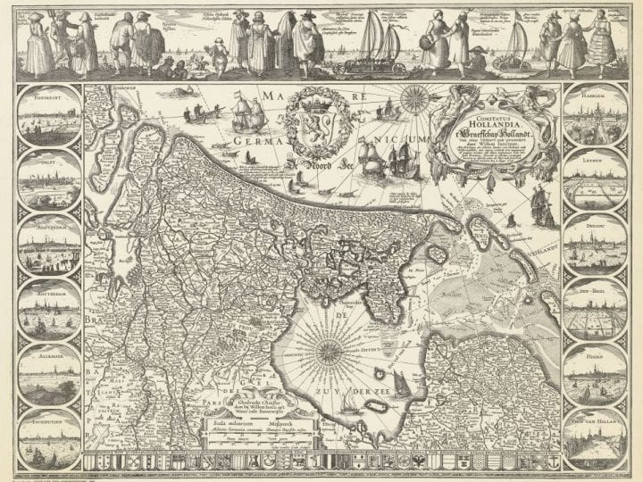 Josua van den Ende (Amsterdam ca. 1584–after 1634 Amsterdam), Claes Jansz Visscher (Amsterdam 1587–1652 Amsterdam),  Figurative Map of Holland, 1608,