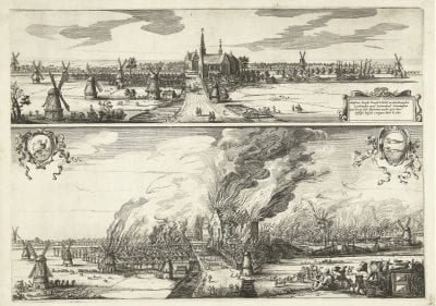 Salomon Saverij (Amsterdam 1594–1678 Amsterdam),  De Rijp before and during the Fire of 1654,  ca. 1657,