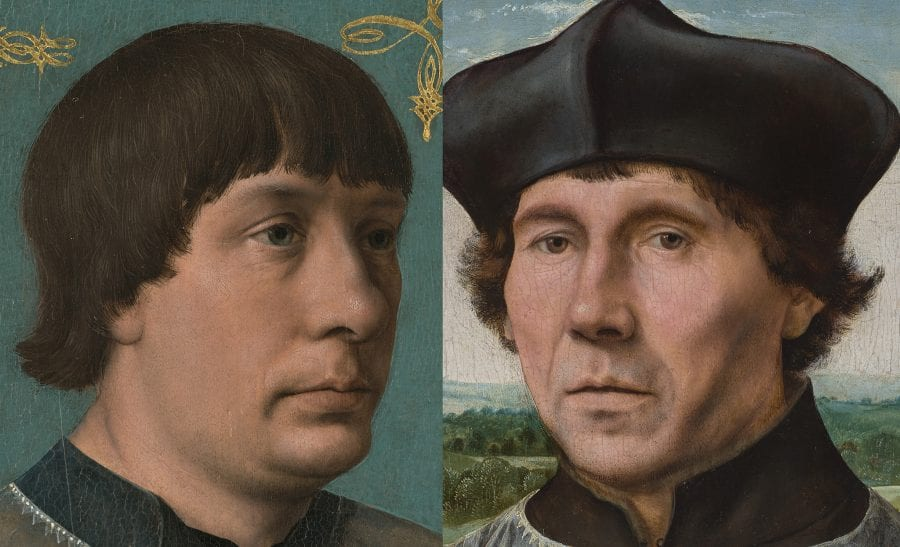 Left: detail of Jacob Obrecht (fig. 1); right: detail of Portrait of a Canon (fig. 3)