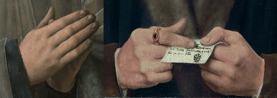 Left: detail of Jacob Obrecht (fig. 1); right: detail of Portrait of a Fifty-one-year-old Man (fig. 10)