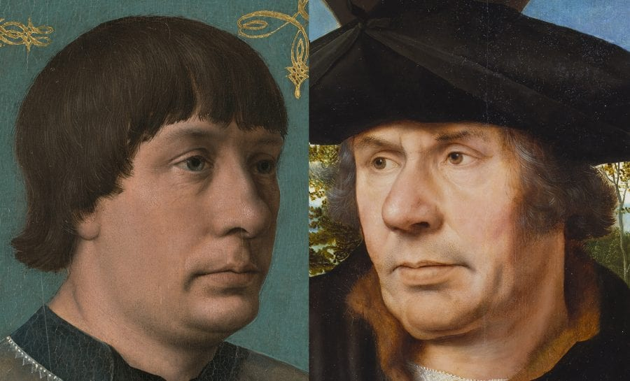 Left: detail of Jacob Obrecht (fig. 1); right: detail of Portrait of a Scholar (fig. 4)