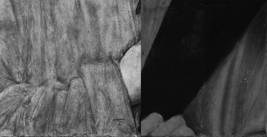 Left: infrared reflectogram, detail of Jacob Obrecht (fig. 12); right: infrared reflectogram, detail of Portrait of a Man with a Pink (fig. 16)