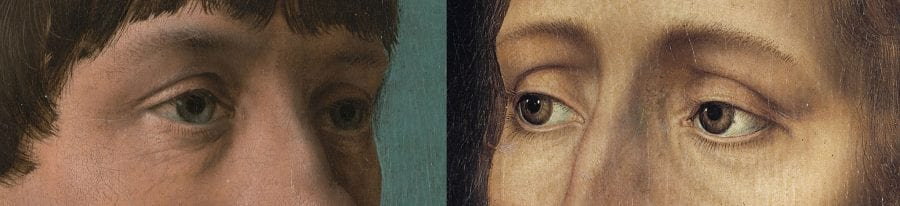 Left: detail of Jacob Obrecht (fig. 1); right: detail of The Savior (fig. 18)