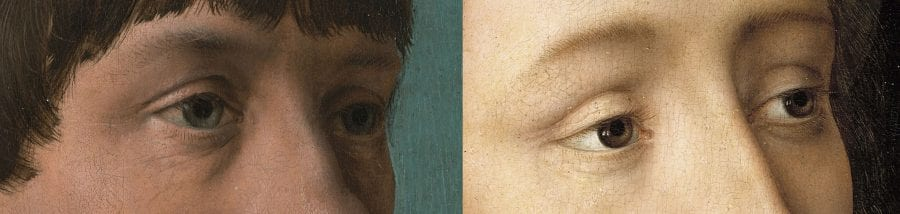 Left: detail of Jacob Obrecht (fig. 1); right: detail of The Virgin Mary (fig. 19)