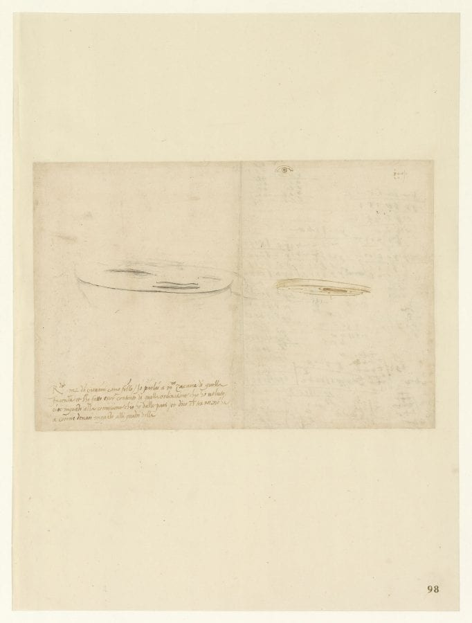 Leonardo da Vinci, Anamorphosis: Study of the Eye; on the left, Juve, ca. 1478–1518, Milan, Biblioteca Ambrosiana