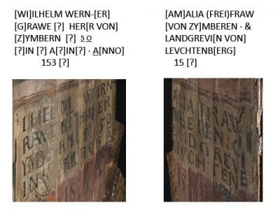 Detail of inscriptions in Zimmern Anamorphosis (see figs. 3 and 4)