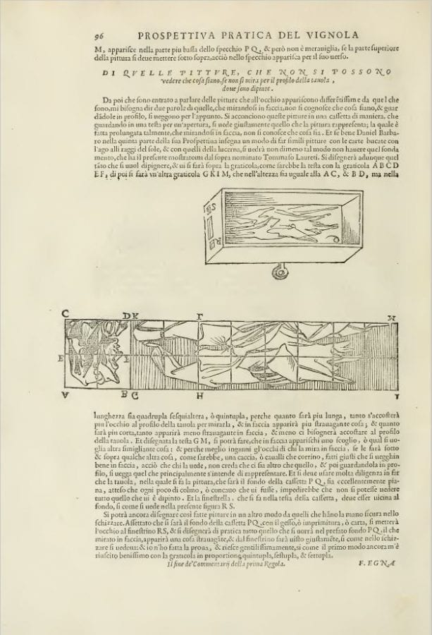 Egnatio Danti, diagram and instructions for distorting a head in, 1583, Los Angeles, Getty Research Institute