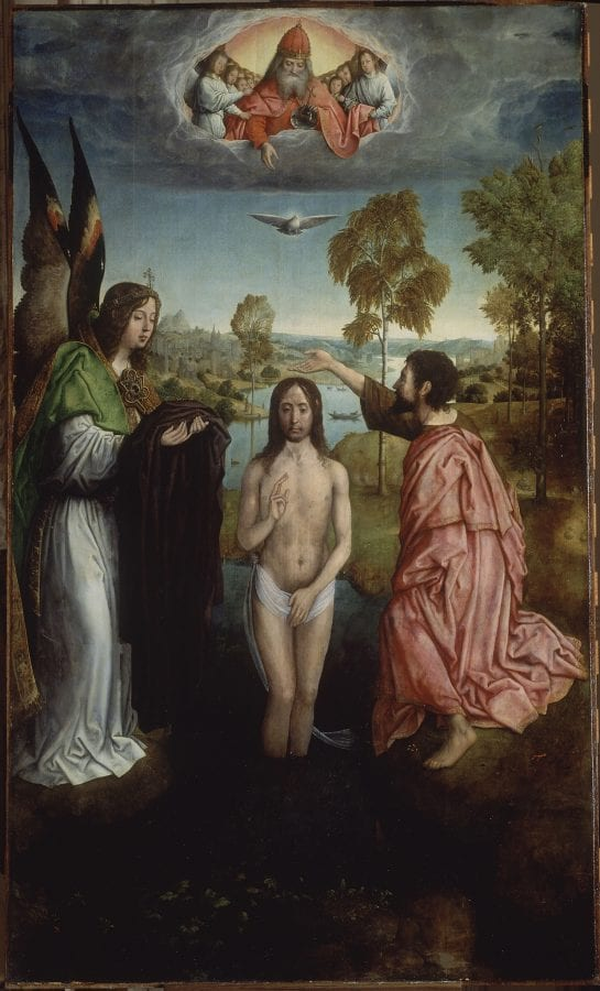 Juan de Flandes, The Baptism of Christ, central panel from the Ret, ca. 1500., Madrid, private collection