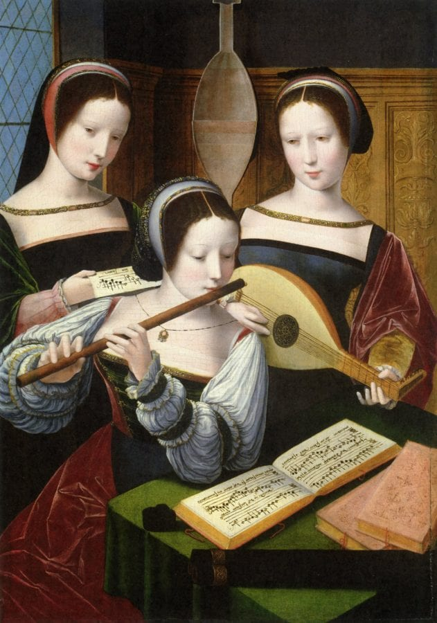 Master of the Female Half-Figures,  Three Women Making Music,  ca. 1530,  Rohrau, Graf HarrachÍsche Familiensammlung, Schloss Rohrau (exh.)