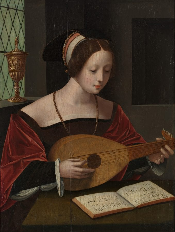 Master of the Female Half-Figures,  Mary Magdalene with a Lute,  ca. 1530,  Rotterdam, Museum Boijmans Van Beuningen (exh.)