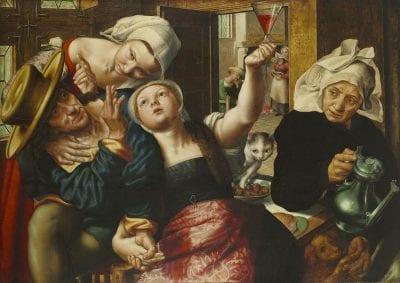 Jan Sanders van Hemessen,  Brothel Scene, 1543, signed and dated ioannes de/hemessen/ pingebat/1543,  Hartford, Conn., Wadsworth Atheneum Museum of Art