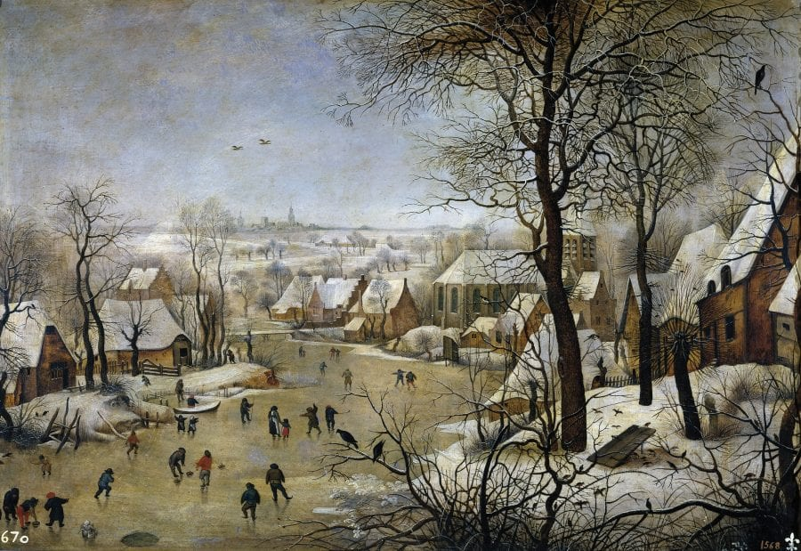 Pieter Bruegel the Elder, Winter Landscape with Bird Trap, 1565, signed and dated brvegel/m.d.lxv., Brussels, Royal Museums of Fine Arts of Belgium (exh.)