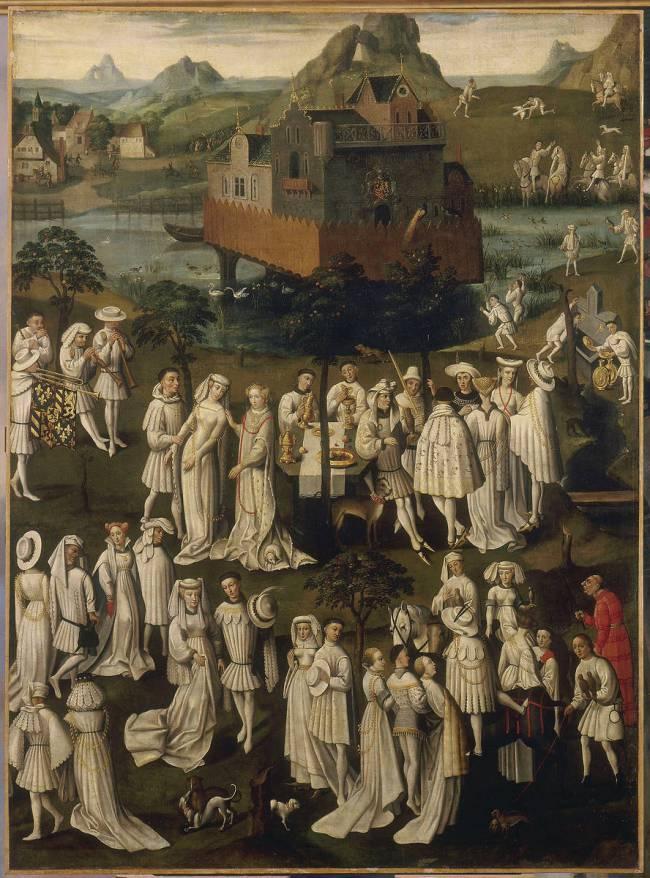 Anonymous, Netherlands,  Courtly Celebration in a Park,  ca. 1550, after an original of 1430_31,  Versailles,  Muse_e national des cha_teaux de Versailles et de Trianon