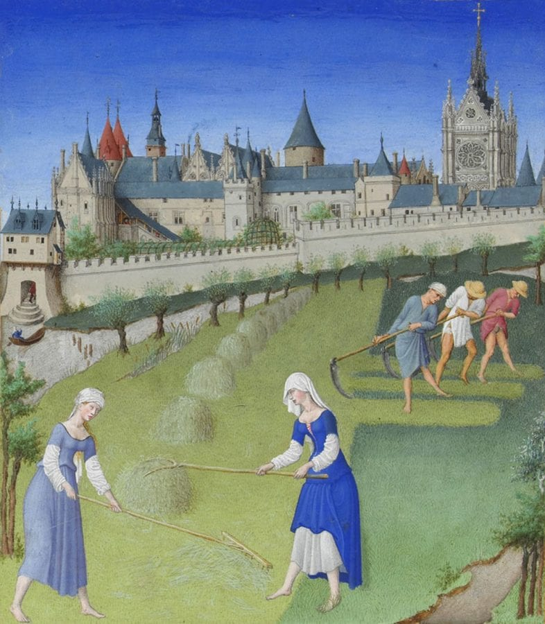 Limbourg Brothers,  The Month of June (detail), in Tre_s Riches Heure,  ca. 1415,  Chantilly, Muse_e Conde_