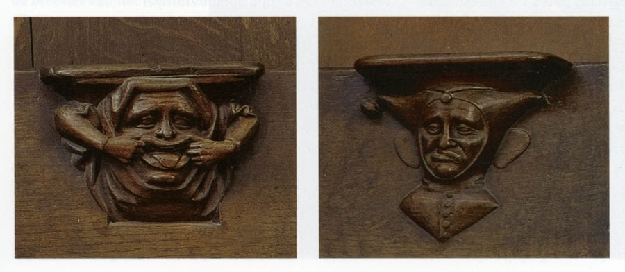 Nicolaas de Bruyne (woodcarving), Two Misericords, 1438_42, Louvain, Church of St. Peter