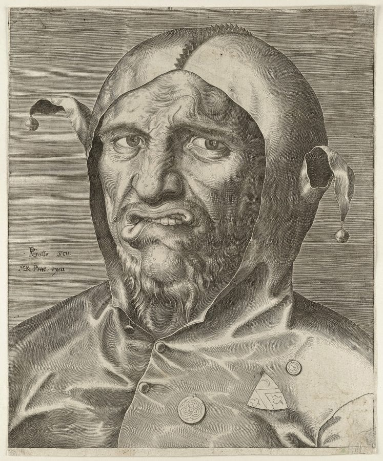 Philips Galle,  Head of a Fool,  ca. 1560,  Haarlem, Noord-Hollands Archief (exh.)