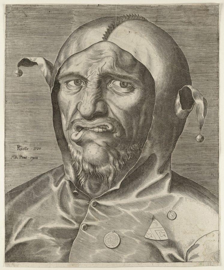 Philips Galle,  Head of a Fool,  ca. 1560,  Haarlem, Noord-Hollands Archief (exh.)