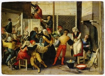 Brunswick Monogrammist,  Brothel Scene with Waffle Maker,  ca. 1530,  Frankfurt am Main, Sta_del Museum (exh.)