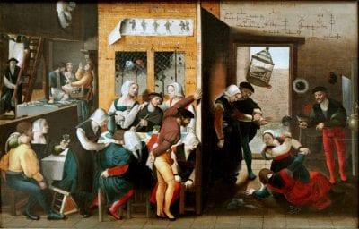 Brunswick Monogrammist,  Brothel Scene with Quarreling Prostitutes,  ca. 1530,  Berlin, Staatliche Museen zu Berlin, Gema_ldegalerie (exh.)