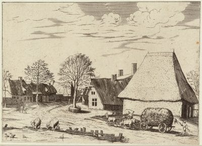 Joannes and Lucas van Doetecum, after the Master of the Small Landscapes,  Village Street with a Haywain,  ca. 1559_61,  Rotterdam, Museum Boijmans Van Beuningen