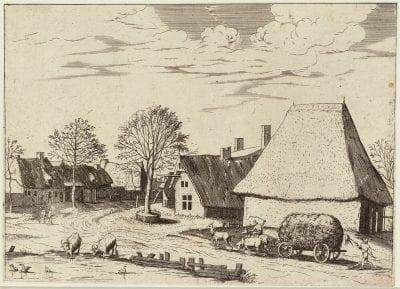 Joannes and Lucas van Doetecum, after the Master of the Small Landscapes,  Village Street with a Haywain,  ca. 1559_61,  Rotterdam, Museum Boijmans Van Beuningen