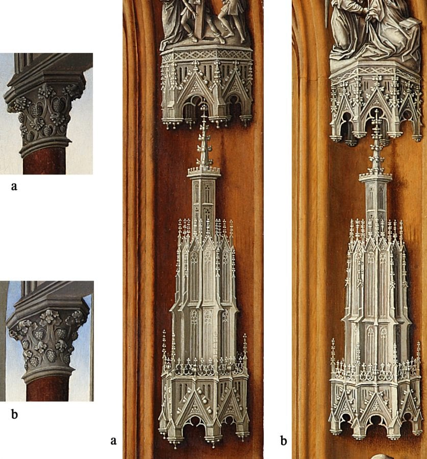 Details of the Miraflores Altarpiece (fig. 1): ca,