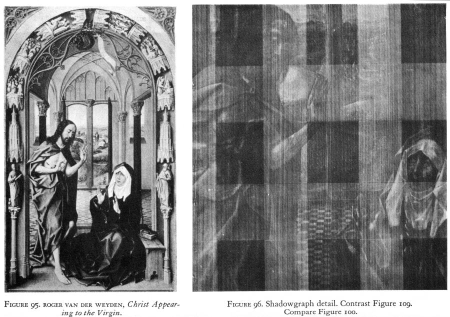 Right panel of the Granada–New York Altarpiece (fig. 2) and radiograph of the same panel. Illustration from Burroughs, Art Criticism from a Laboratory, figs. 95, 96 (see Bibliography)