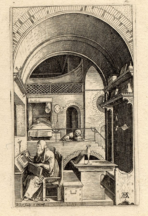 Johann Theodor de Bry,  Saint Jerome in a Room with an Arched Ceiling,  ca. 1580–1600,  London, The British Museum