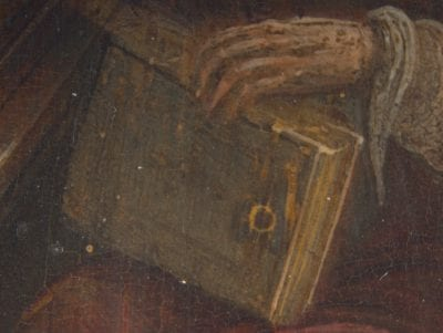 Hendrik van Steenwijck the Younger, Saint Jerome in His Study (fig. 1), detail of pin, 1624,