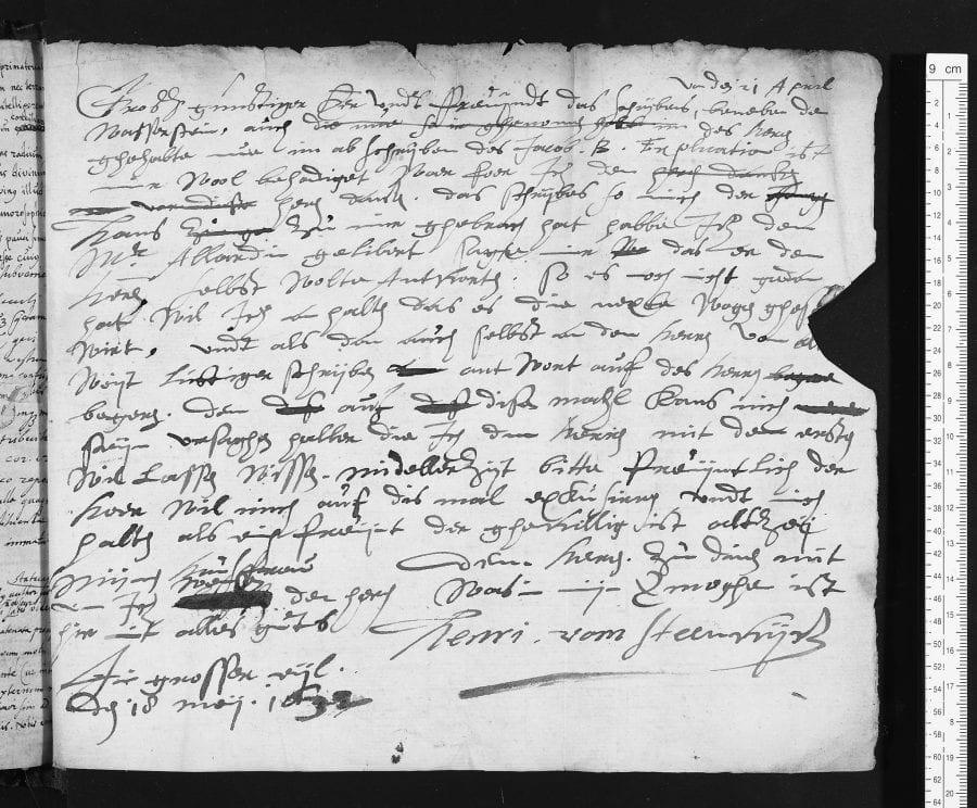 Hendrik van Steenwijck the Younger, Letter of May 18, 1632, by Hendrik van Steenwijck, 1632, University of Oxford, Bodleian Library, MS Ashmole 1399, part II
