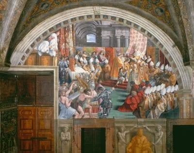 Workshop of Raphael,  Coronation of Charlemagne (with scene of Simon Ma,  1514–17,  Vatican City, Stanza dell'Incendio di Borgo