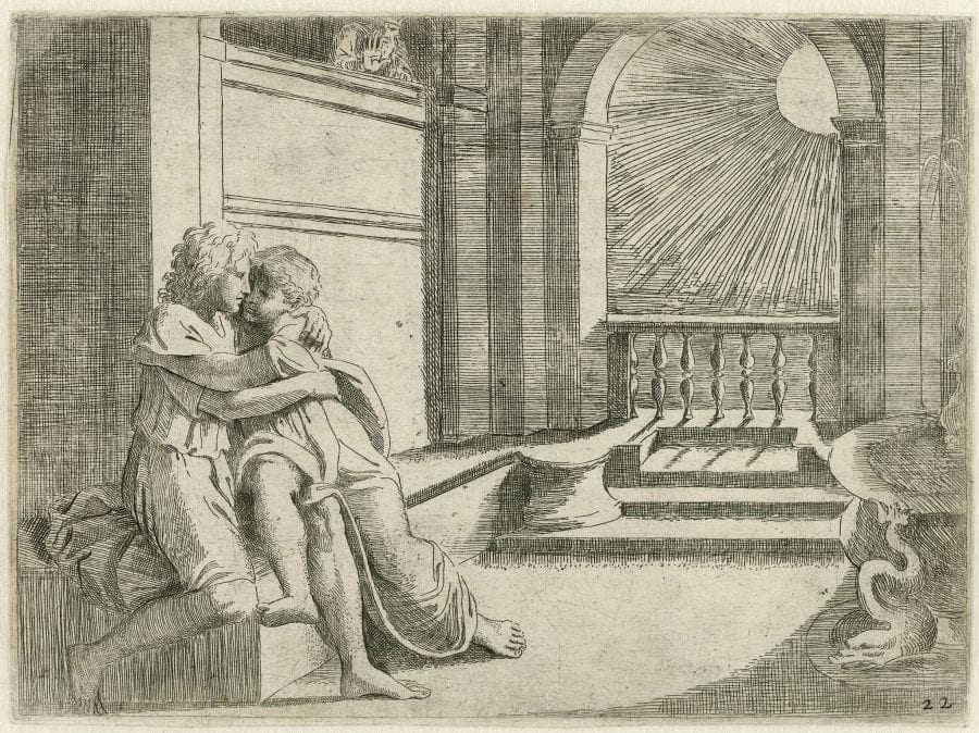 Sisto Badalocchio, after Raphael, Abimelech sees Isaac caressing Rebecca, from Hist, 1607, London, British Museum