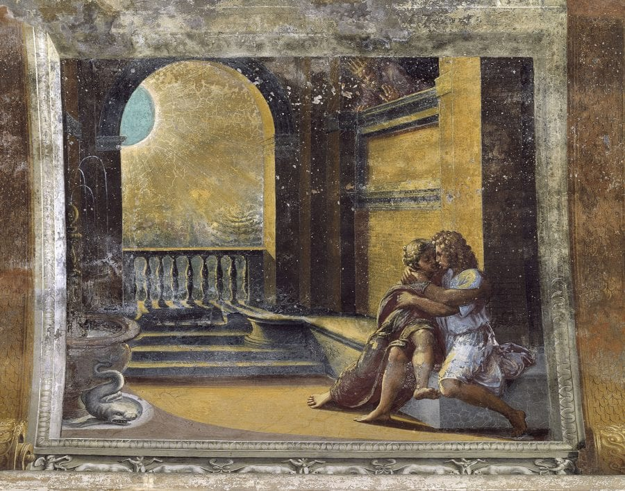 Workshop of Raphael, Abimelech Sees Isaac Caressing Rebecca, 1518–19, Vatican City, Logge di Raffaello