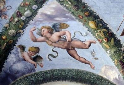 Workshop of Raphael,  Amoretto, 1519,  Rome, Villa Farnesina, Loggia di Psiche