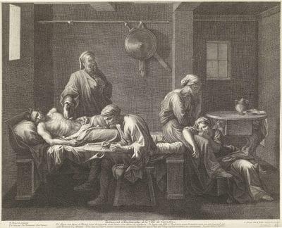 Jean Pesne, after Nicolas Poussin,  The Testament of Eudamidas,  1644–1700,  Amsterdam, Rijksmuseum