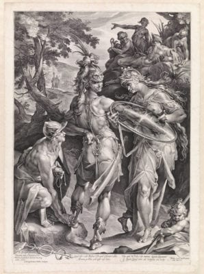Jan Muller, after Bartholomeus Spranger; Minerva and Mercury Arming Perseus