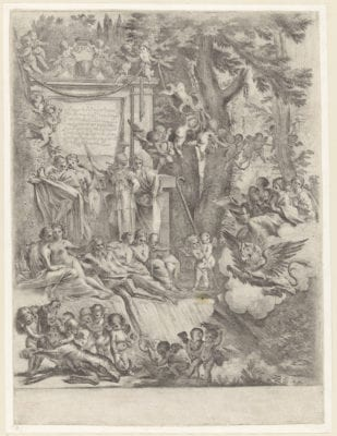 Pietro Testa, Allegory in the Honor of the Arrival of Cardinal Franciotti as Bishop of Lucca, 1637