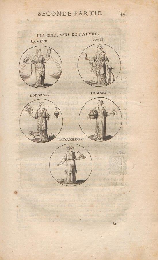 "Jacques de Bie, ""Les Cinq Sens de Nature, in Cesare Ripa, Icono, 1643-44, Heidelberg University Library"